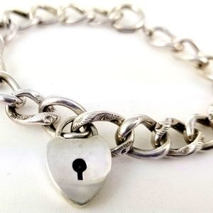 Jewelry - Antique Sterling Heart Padlock Charm Bracelet